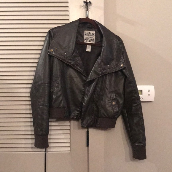 41ad7207f Brown Faux Leather Bomber Jacket by Wet Seal